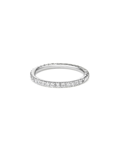 Cable Collectibles Pave Diamond Band Ring in 18K White Gold, Size 7