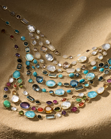 18k Rock Candy® Multi-Row Rainbow Bib Necklace