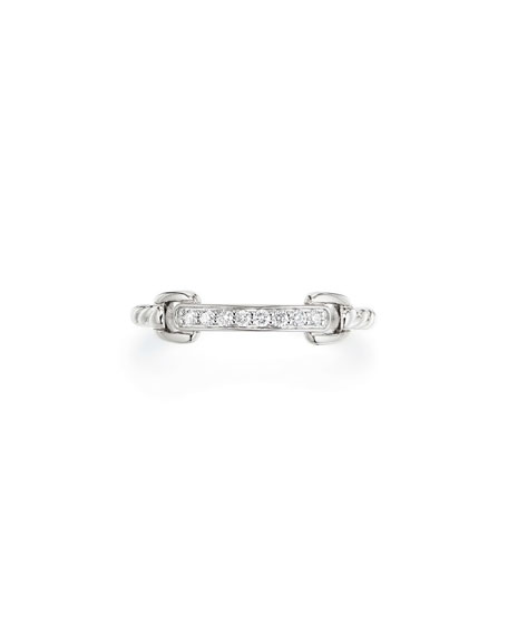 Petite Pavé Bar Ring w/ Diamonds in 18k White Gold, Size 6