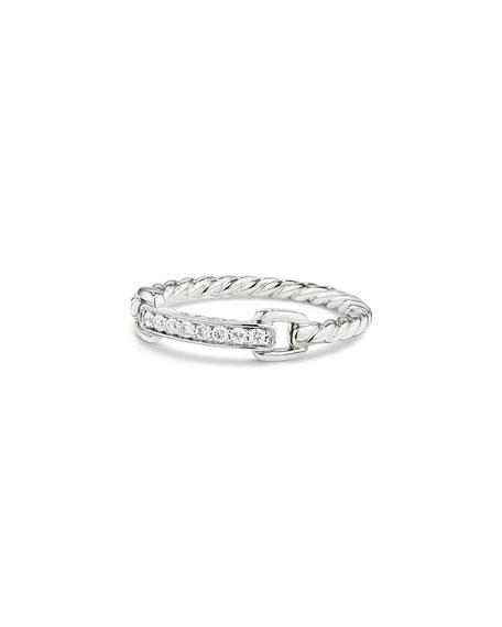 Petite Pavé Bar Ring w/ Diamonds in 18k White Gold, Size 7
