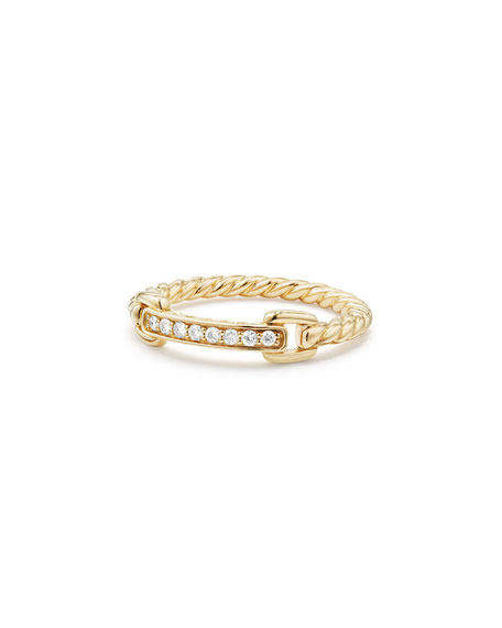 Petite Pave Bar Ring w/ Diamonds in 18k Yellow Gold, Size 7