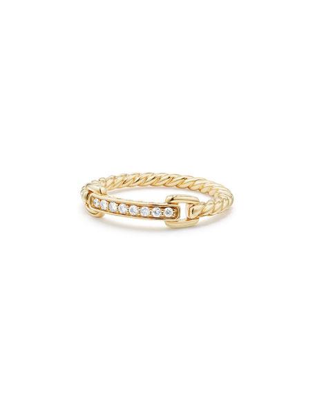 Petite Pavé Bar Ring w/ Diamonds in 18k Yellow Gold, Size 7