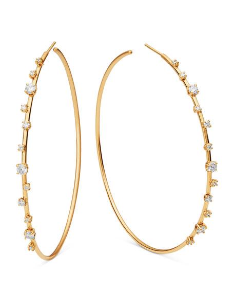 14k Solo Scattered Diamond Hoop Earrings