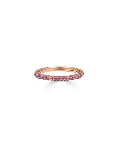 14k Pink Sapphire Eternity Ring, Size 7