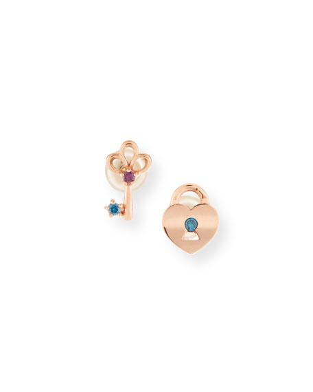14k Key to My Heart Stud Earrings