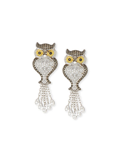 18k Diamond Owl Drop Earrings