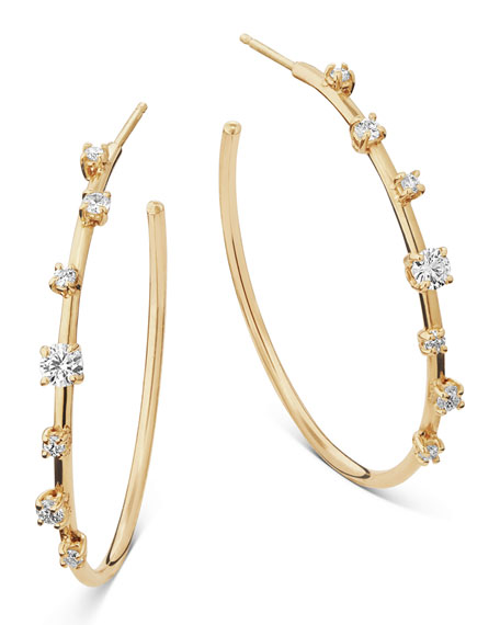 14k Solo Diamond Hoop Earrings