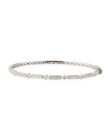 Lisse Alternating Kite Diamond Bangle in 18k White Gold