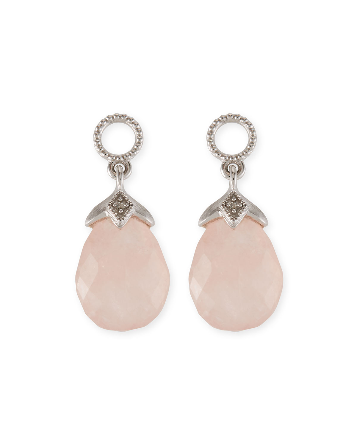 Lisse Morganite Briolette Earring Charms With Diamonds In 18k White Gold