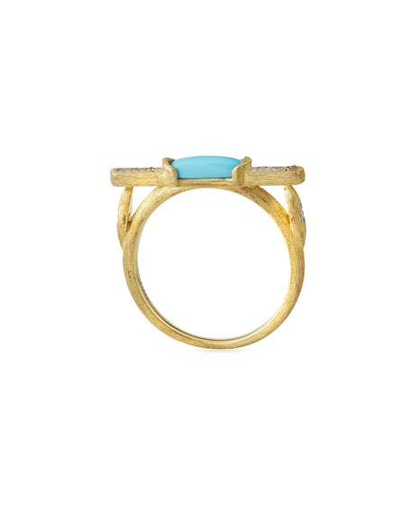 Moroccan Marrakech East-West Stone Ring with Turquoise & Diamonds, Size 6.5