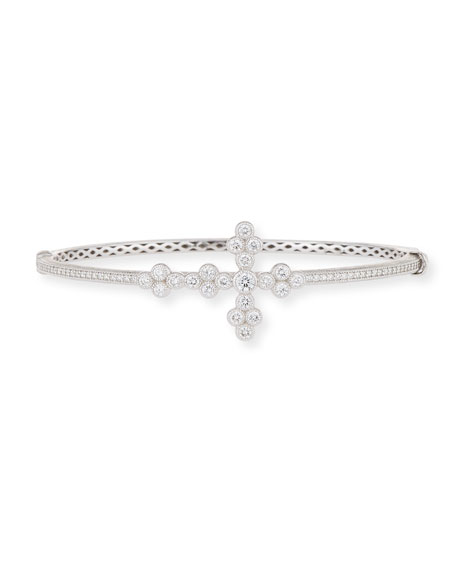 18k Gold Provence Diamond Cross Bangle
