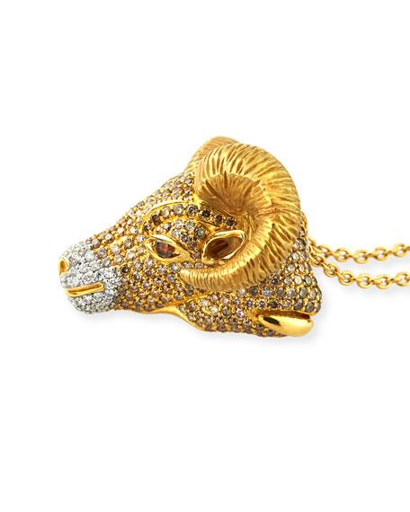 18k Diamond Pavé Ram Pendant Necklace