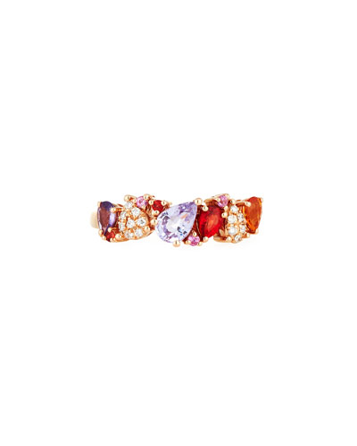 Pear-Shaped Sapphire & Diamond Ring in 14K Rose Gold, Size 7