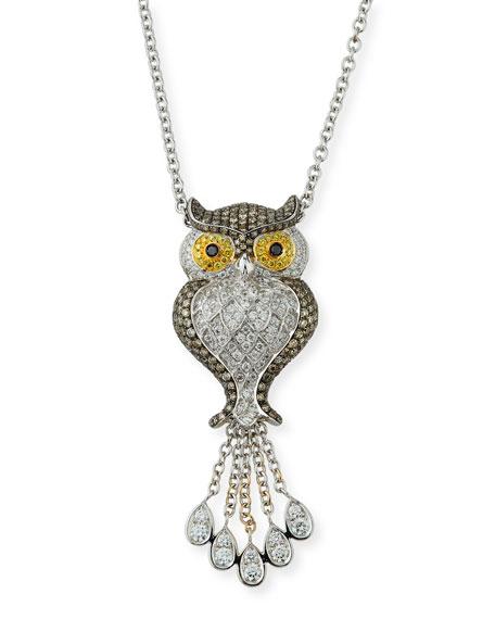 18k Diamond Pavé Owl Pendant Necklace