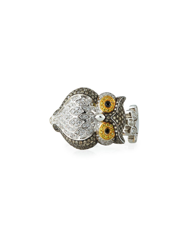 Roberto Coin 18k Two-Tone Diamond Owl Ring, Size 7.25