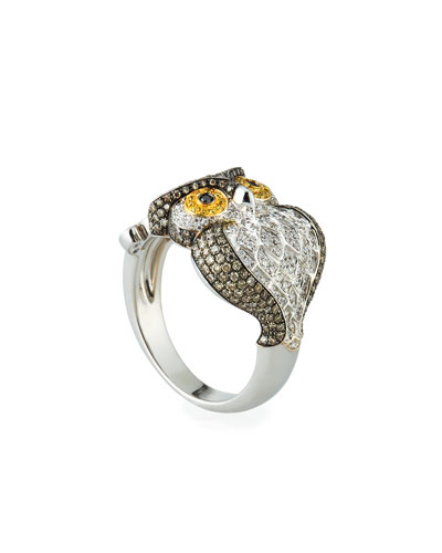 18k Two-Tone Diamond Owl Ring, Size 7.25