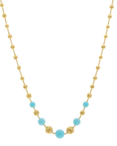 18k Africa Short Turquoise Beaded Necklace