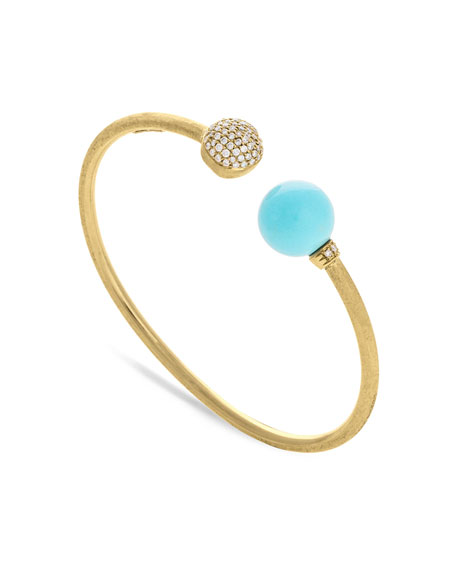 Marco Bicego 18k Gold Africa Diamond & Turquoise Bangle Bracelet x5S0N