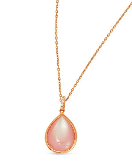 18k Luna Pink Mother-of-Pearl Teardrop Pendant Necklace
