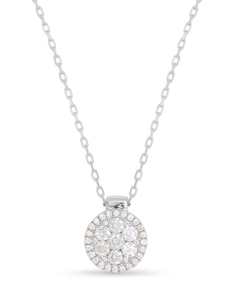 18k Firenze II Round Diamond Cluster Pendant Necklace