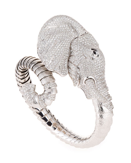 18k Gold Diamond Pave Elephant Bangle