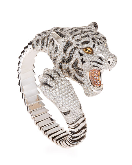18k Gold Diamond Pave Tiger Bangle