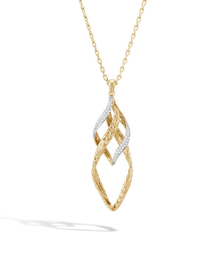 18k Classic Chain Wave Twist-Link Pendant Necklace w/ Diamond Trim