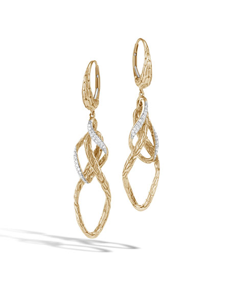 18k Classic Chain Diamond Wave Drops Earrings