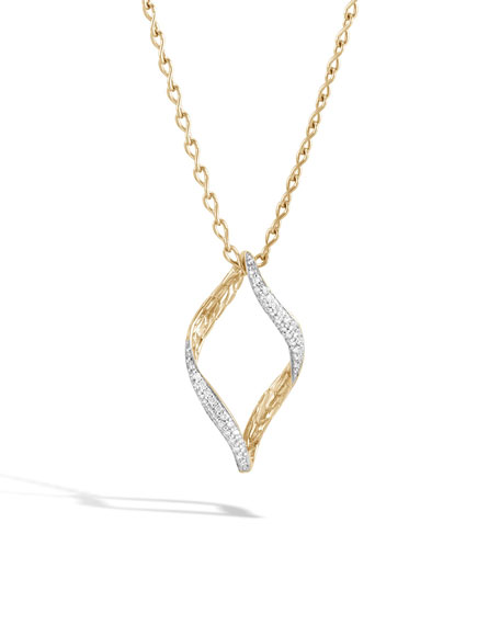 John Hardy 18k Classic Chain Wave Twist-Link Pendant Necklace w/ Diamond Trim lU4aJie