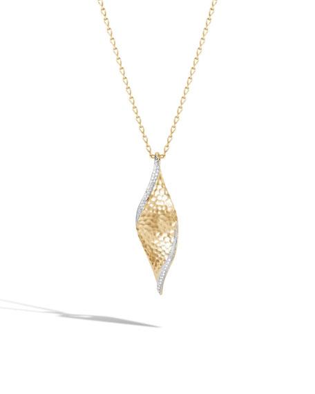 "18k Classic Chain Wave Pendant Necklace w/ Diamond Trim, 36"""