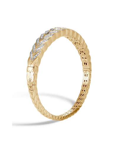18k Modern Chain Diamond Pavé Bracelet, Size Medium
