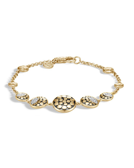 18k Dot Diamond Moon Phase Station Bracelet, Size Medium