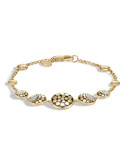 John Hardy 18k Dot Diamond Moon Phase Station Bracelet, Size Small