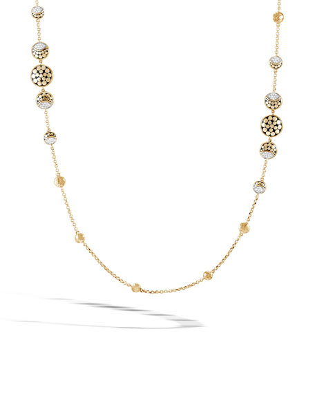 John Hardy 18k Classic Chain Necklace w/ Diamond & Moonstone Droplets, 36