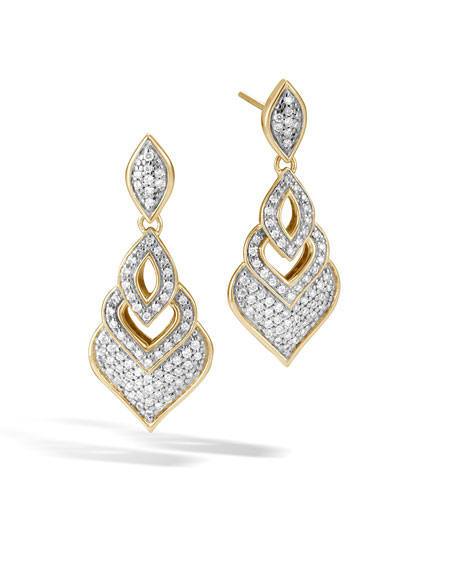 John Hardy 18k Legends Naga Diamond Drop Earrings DXnEi