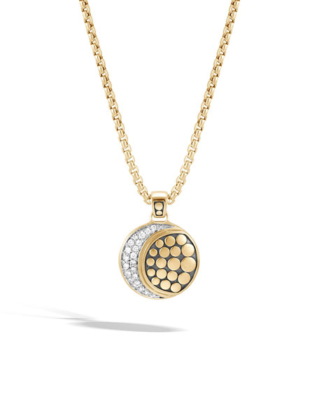 John Hardy Dot Moon Phase 18K Gold Diamond Pave Pendant Necklace, 36
