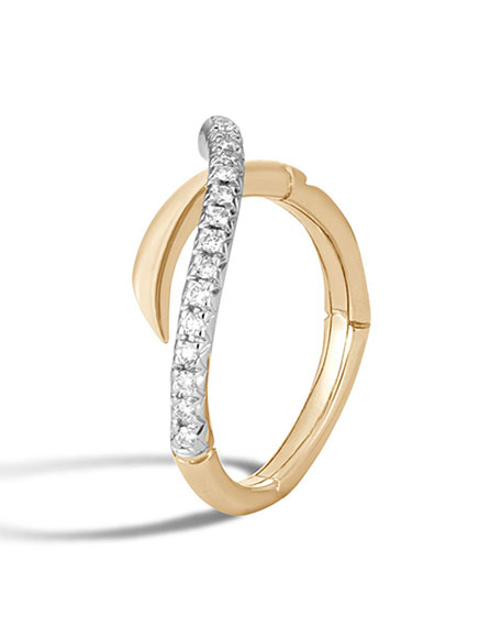 18k Bamboo Diamond Bypass Band Ring, Size 6