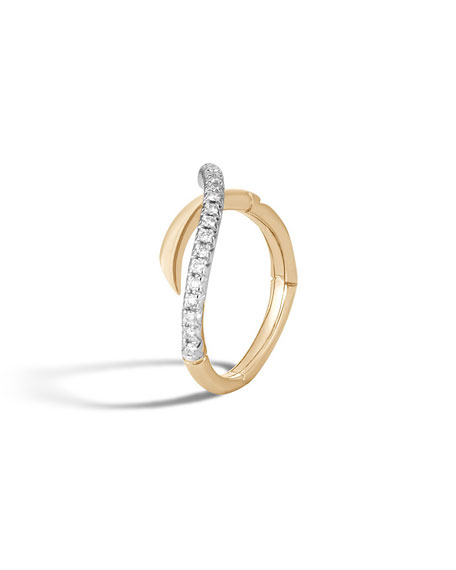 18k Bamboo Diamond Bypass Band Ring, Size 7