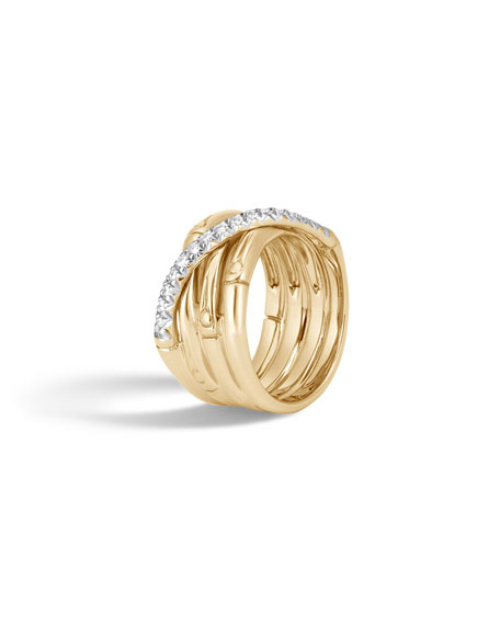 18k Bamboo Diamond Multi-Band Ring, Size 7