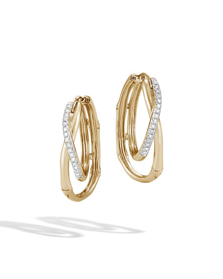 18k Bamboo Diamond Pave Hoop Earrings
