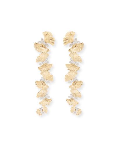 18k Butterfly Ginkgo Diamond Earrings