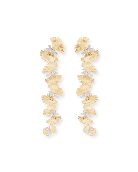 18k Butterfly Ginkgo Diamond Earrings