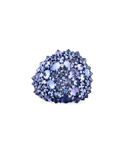18k Titanium, Diamond & Tanzanite Spike Ring