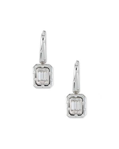 18k Baguette Diamond Drop Earrings