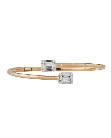 Diamond Bypass Bracelet in 18k Rose Gold