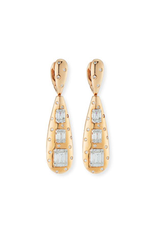 Andreoli 18k Rose Gold Baguette Diamond Teardrop Earrings