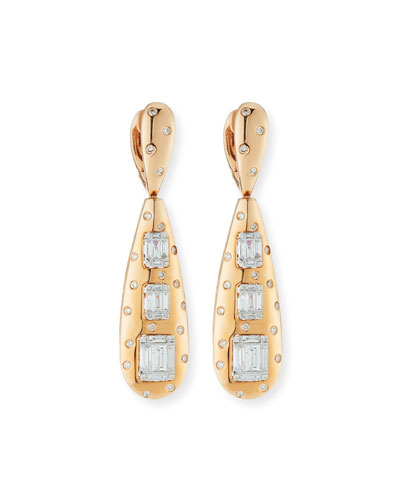 18k Rose Gold Baguette Diamond Teardrop Earrings