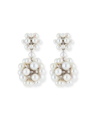 18k Pearl & Diamond Orbit Double Drop Earrings