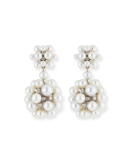 18k Pearl & Diamond Orbit Double Drop Earrings