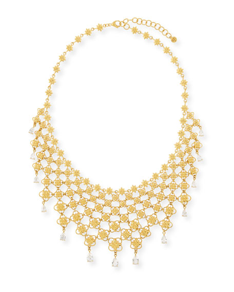 20k Mesh Bib Necklace w/ Pear-Cut Diamonds